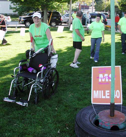 Debbie Knudson from Union Grove completing Mile 20, Day #1