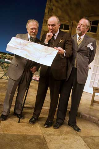From left to right are Peninsula Players veteran actors Tom Mula, Greg Vinkler and Tim Monsion as three friends who goad one another onto new adventures in Heroes, on stage through July 4
