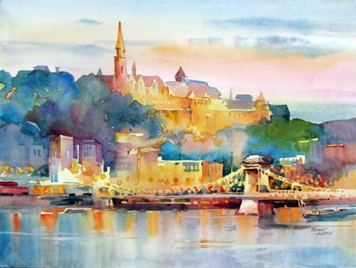 Budapest at Dusk, watercolor by Bridget Austin